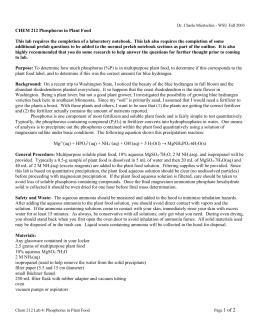 gravimetric determination of phosphorus in plant food lab answers