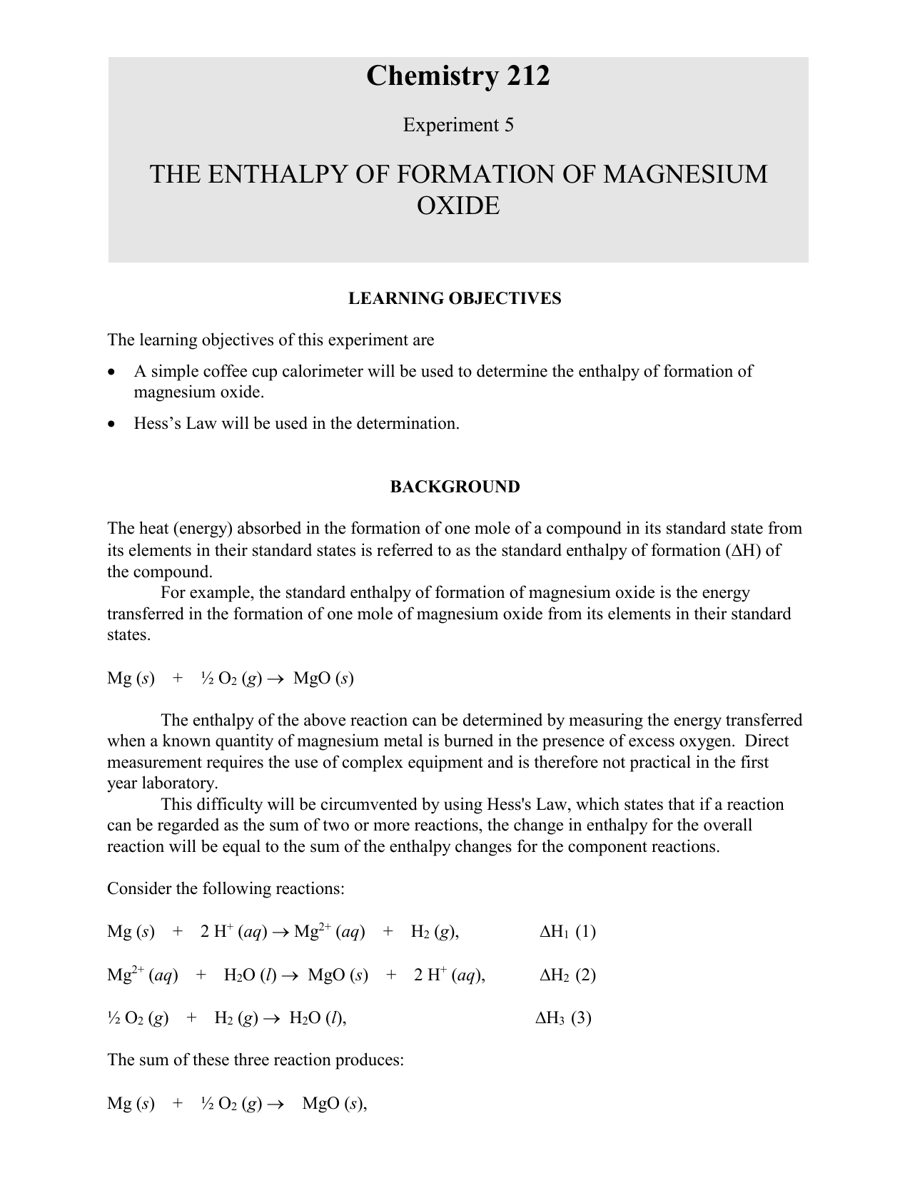 standard enthalpy of formation mgo