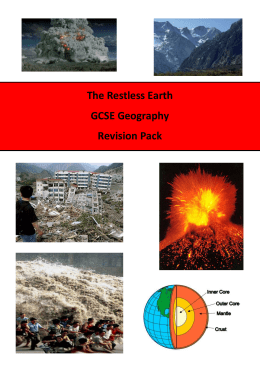 The Restless Earth GCSE Geography Revision Pack Key words