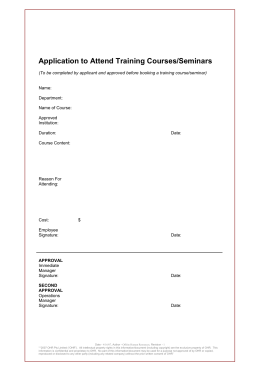 Application to attend Training Course/Seminar