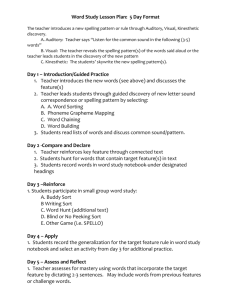 Sample -Word Study Lesson Plan / Weekly Routine (5 Days)