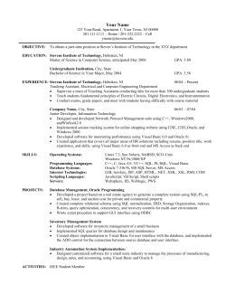 Sample Resume (Grad Students) - Stevens Institute of Technology