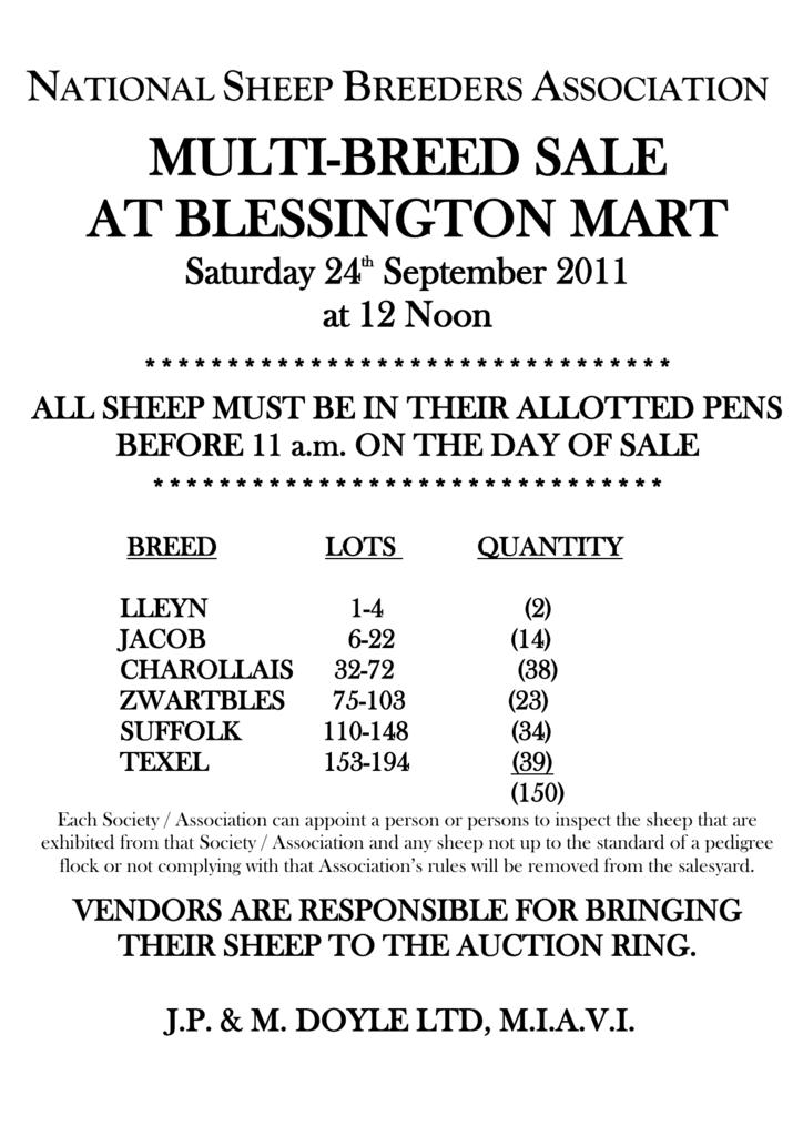 Blessington Multi Breed Sheep Sale Catalog Cover