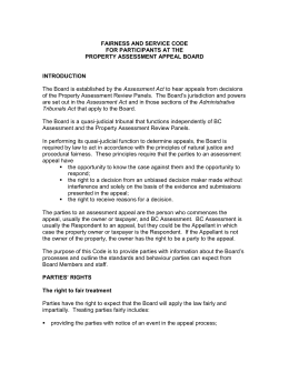 fairness and service code - Property Assessment Appeal Board
