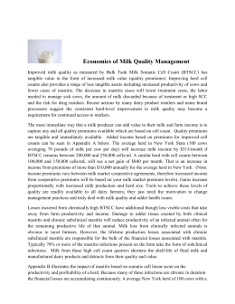 Economics of Milk Quality Management with Examples 1-5-11
