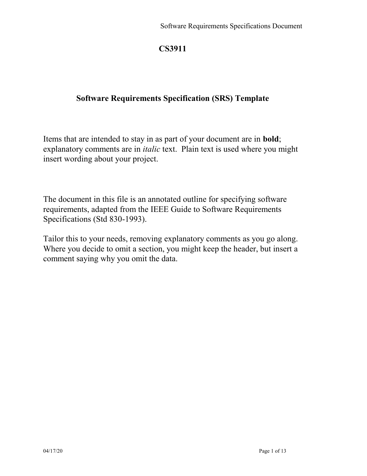 Software Requirements Specification Srs Template