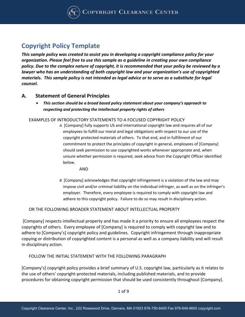 Developing A Corporate Copyright Policy