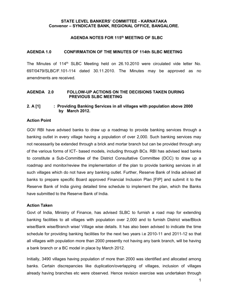 AGENDA NOTES FOR 113th MEETING OF SLBC