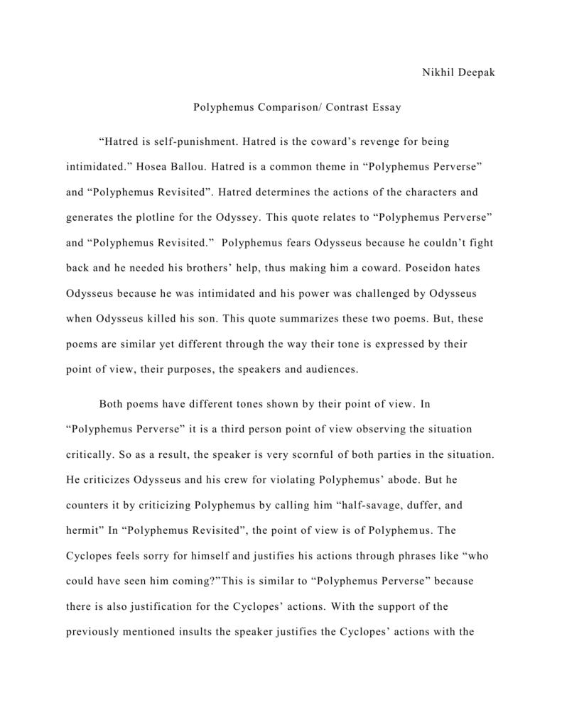 "nikhil deepak polyphemus comparison contrast essay ""hatred is"