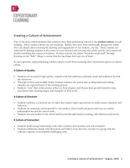 Creating a Culture of Achievement