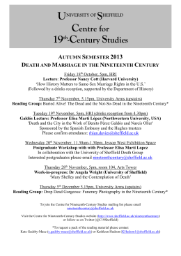 Centre for 19th Century Studies: Seminars Autumn 2003/Spring