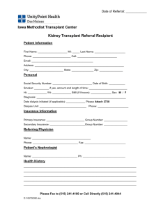 Kidney Transplant Referral Recipient Form