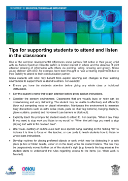 Tips for supporting students to attend and listen in the classroom