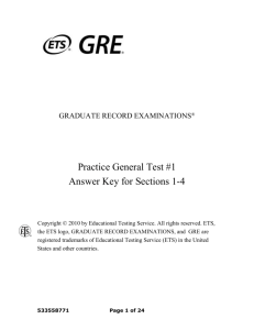 GRE Practice General Test #1 Answer Key