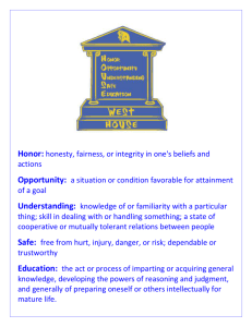 Honor: honesty, fairness, or integrity in one`s beliefs and actions