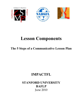 Lesson Components The 5 Steps of a Communicative Lesson Plan