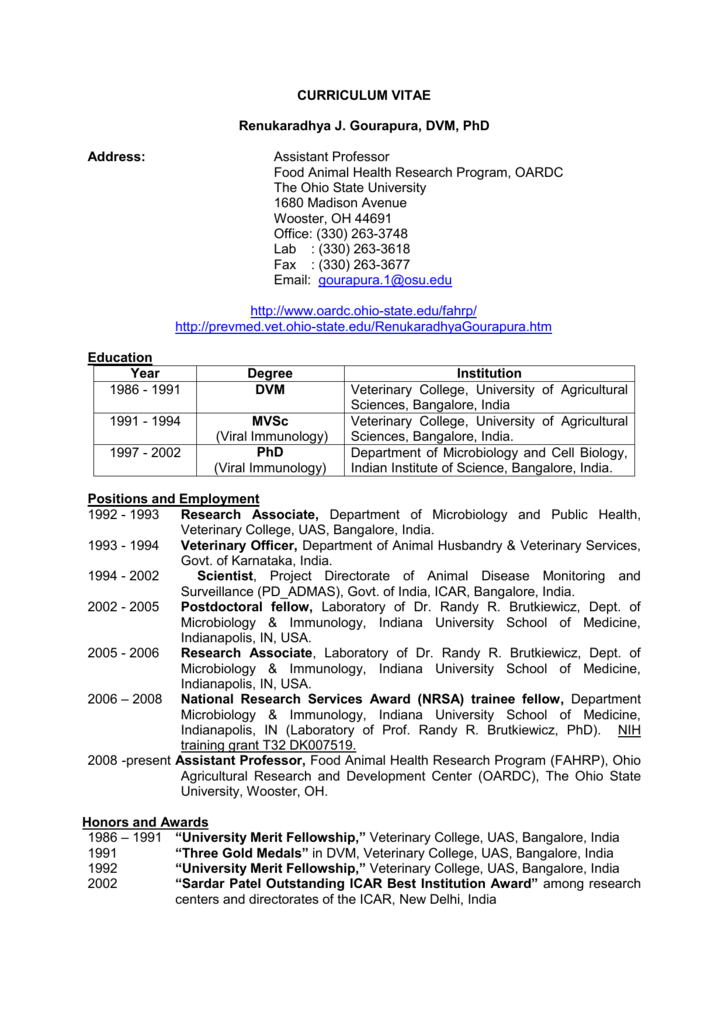 Curriculum Vitae Ohio Agricultural Research And Development Center