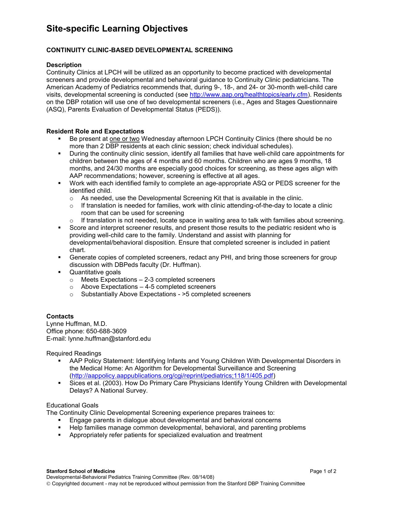 Learning Objectives - Developmental-Behavioral Pediatrics Training