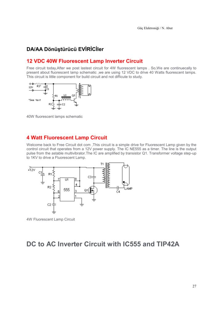 12 Vdc 40w Fluorescent Lamp Inverter Circuit