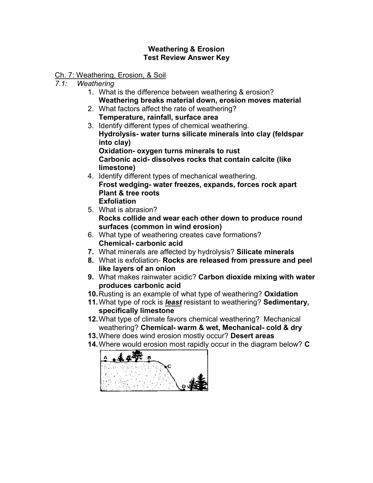 worksheet Water Erosion Worksheet Answers weathering erosion