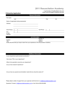 Fellowship Application - Resuscitation Academy