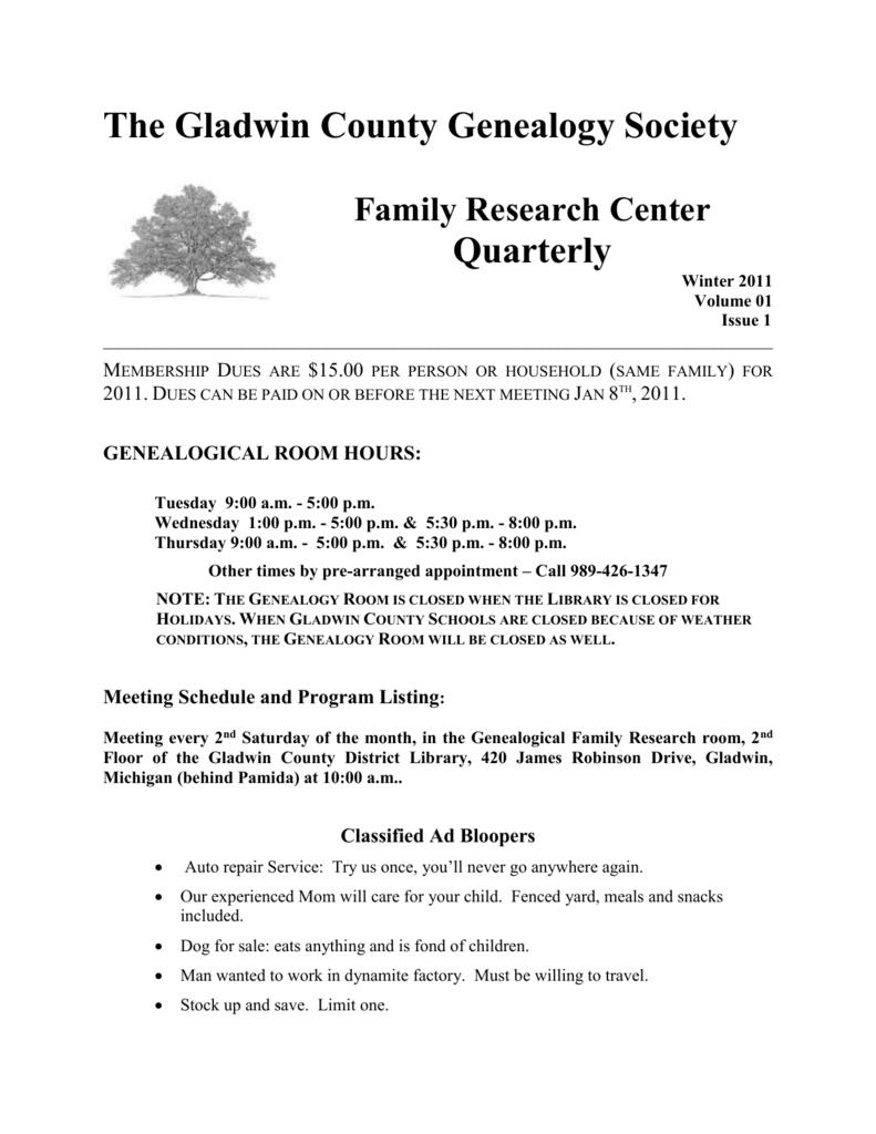 The Gladwin County Genealogy Society