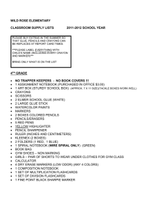 CLASSROOM SUPPLY LISTS - Wild Rose Public Schools