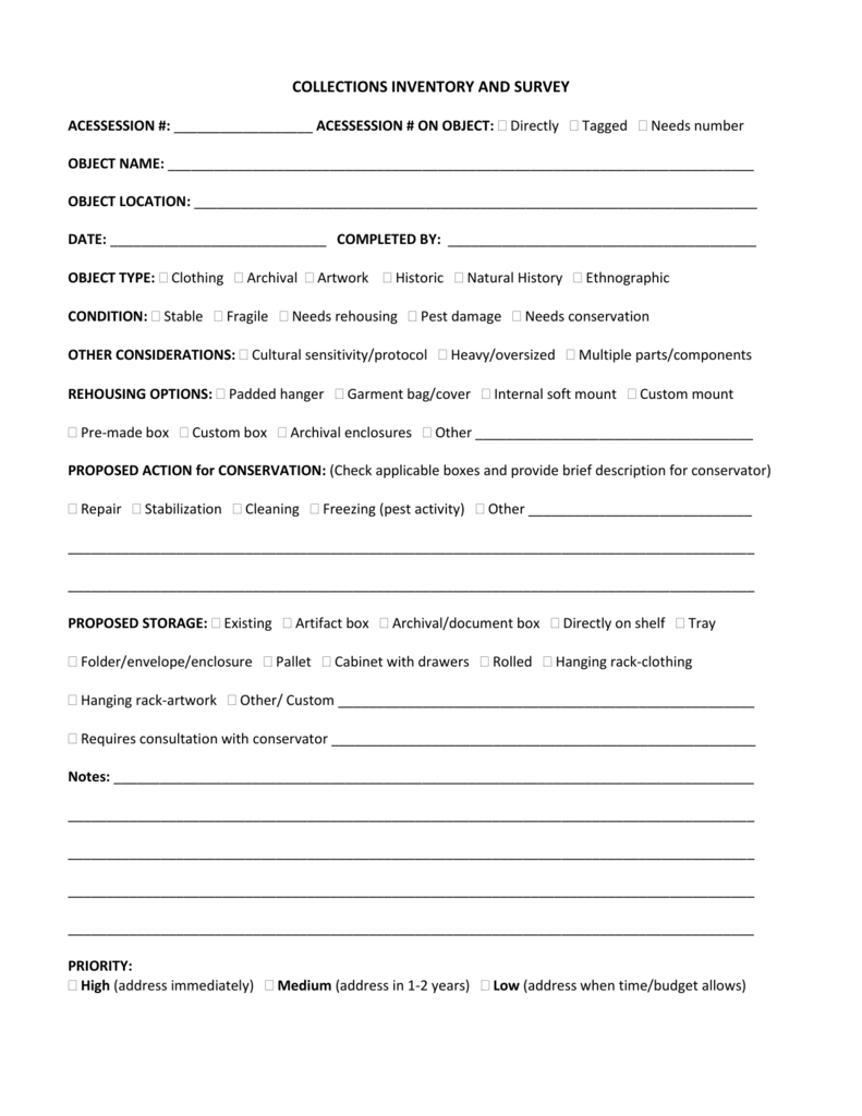 Collections Inventory And Survey Template