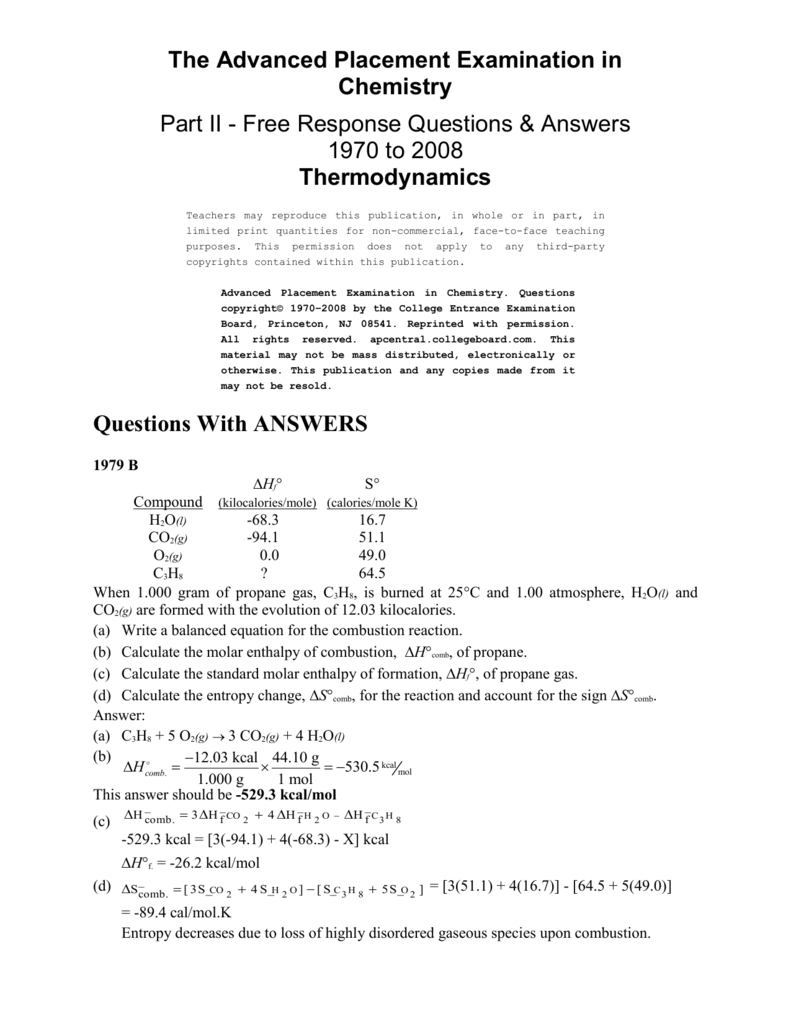 advanced chemistry questions and answers