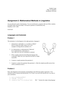 Assignment 1: Mathematical Methods in Linguistics