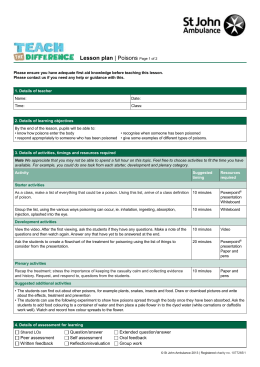 Lesson plan - St John Ambulance
