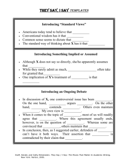 Argumentative essay template they say i say
