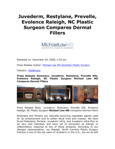 Juvederm, Restylane, Prevelle, Evolence Raleigh, NC Plastic