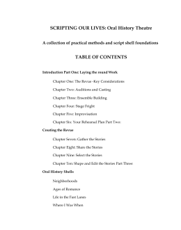 SCRIPTING OUR LIVES: Oral History Theatre