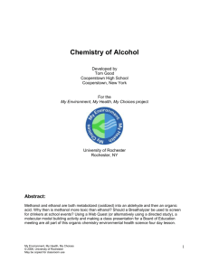 Chemistry of Alcohol - University of Rochester Medical Center