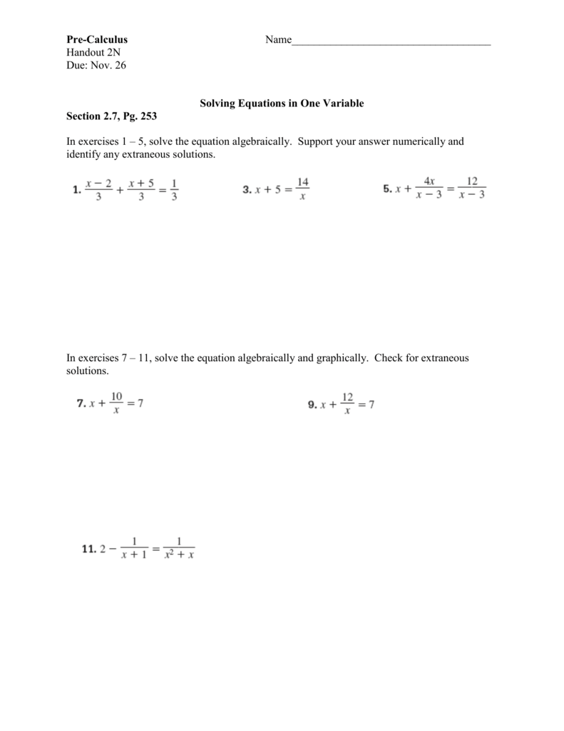 Pre-Calculus Name____________________________________
