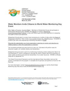 Water Monitors Invite Citizens to World Water