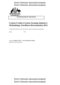 Carbon Credits (Carbon Farming Initiative) Methodology (Facilities