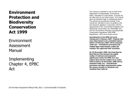 Environment Assessment Manual: Implementing Chapter 4, EPBC Act