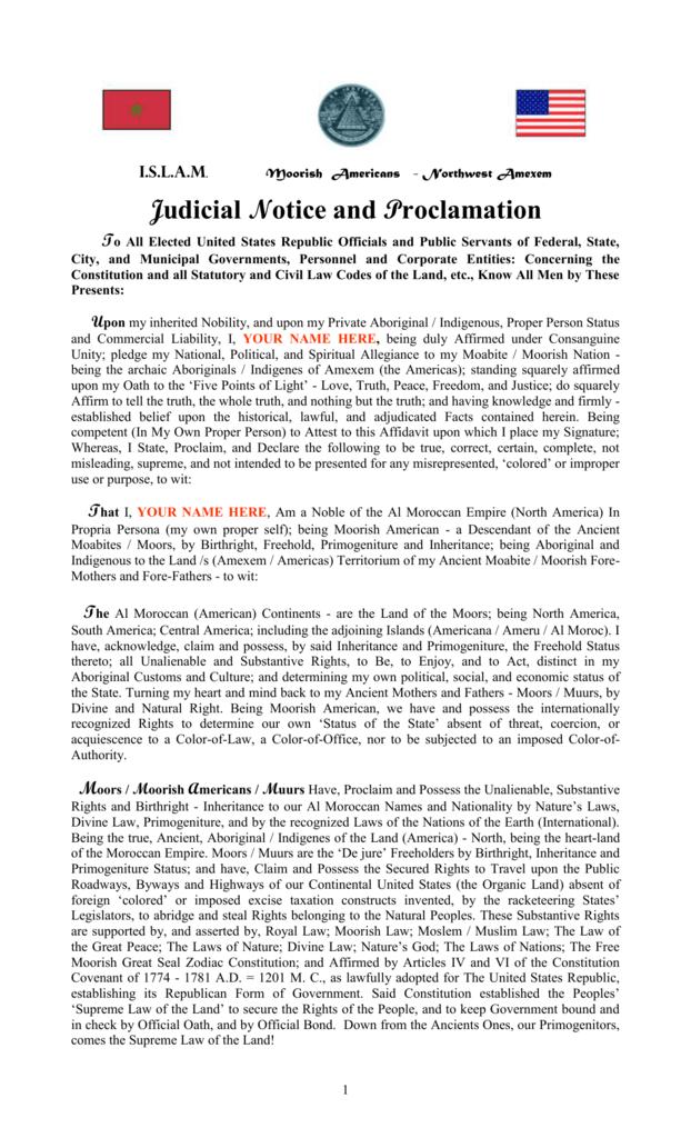 I S L A M  Moorish Americans - Northwest Amexem Judicial Notice