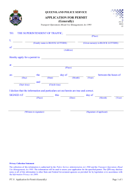 PT31 Application for Permit (Generally)