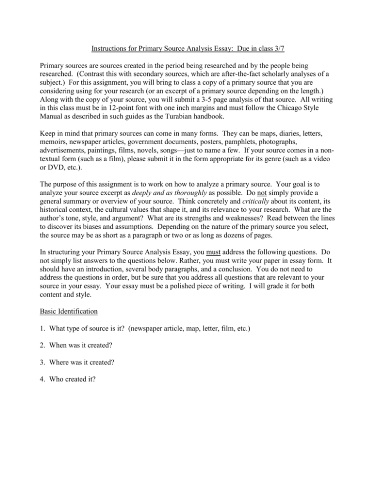 source interpretation essay