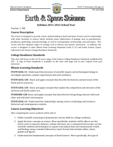 Earth Science Course Syllabus 2011-2012