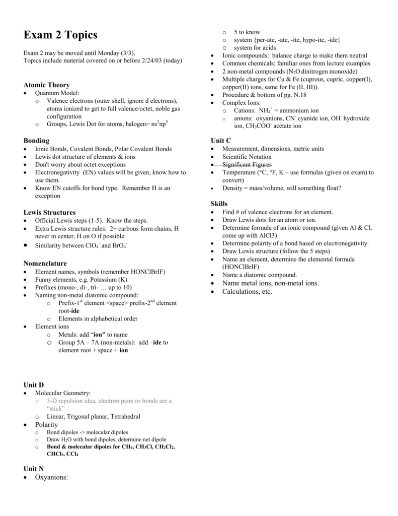 Exam 2 Topics
