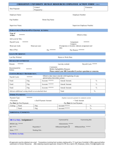 Creighton University Human Resources Employee Action Form