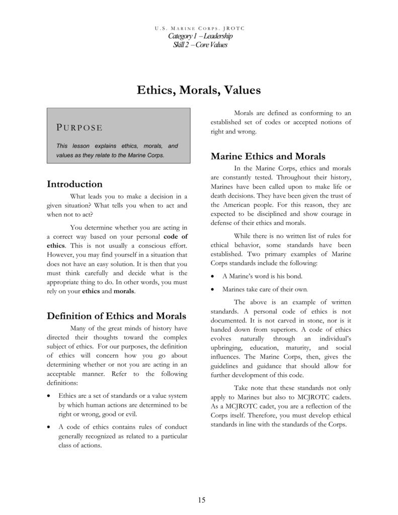 ethics morals values marine corps junior rotc blog