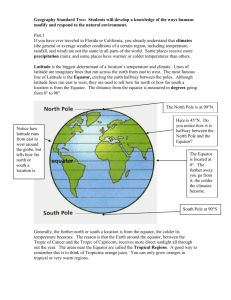 Geography Standard Two: Students will develop a knowledge of the