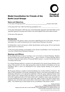 Model Constitution for Friends of the Earth Local Groups