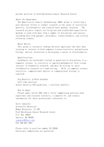 postdoc position in Fred Hutchinson Cancer Research Center