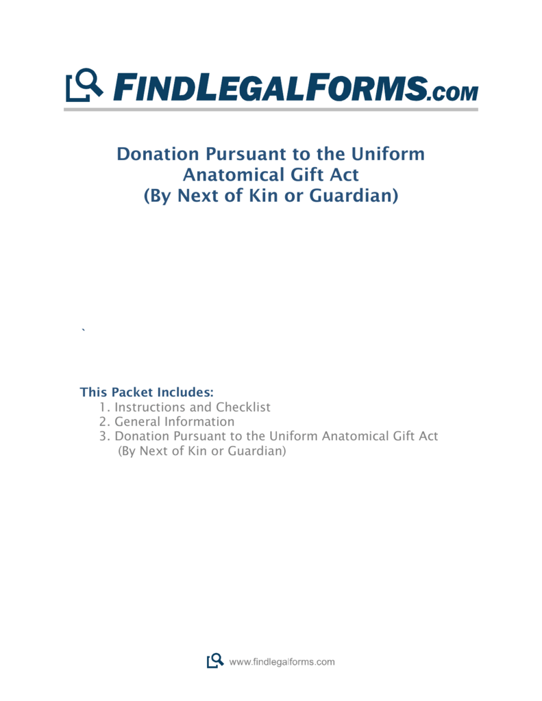 Donation Pursuant to the Uniform Anatomical Gift Act (By Next of Kin